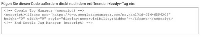 Google tag manager body code