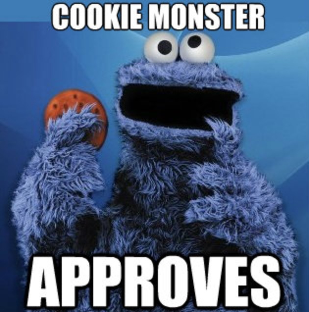 "een meme waarin Koekiemonster wordt getoond met de tekst ""Cookie Monster approves"". Cookies zijn de meest gebruikte tracking-methode in affiliate marketing."