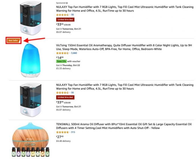 List of amazon humidifiers search results including images. Bestseller is labeled in orange.