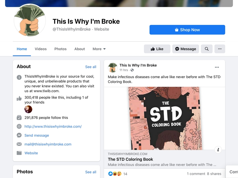 """This is a screenshot of the Facebook page """"This is why I'm broke"""" which promotes a niche for affiliate marketing on social media."""