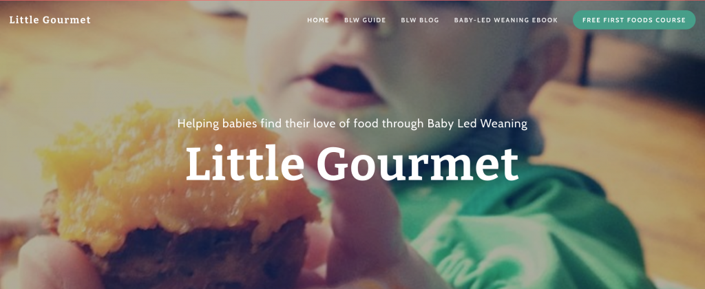 A screenshot of Little Gourmet homepage. A website on Baby Led Weaning that works with affiliate links.