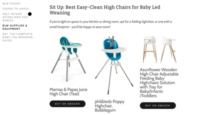 A screenshot of high chairs that are available as product recommendations on the Little Gourmet website. This is a good example how affiliate links work within a bigger website.