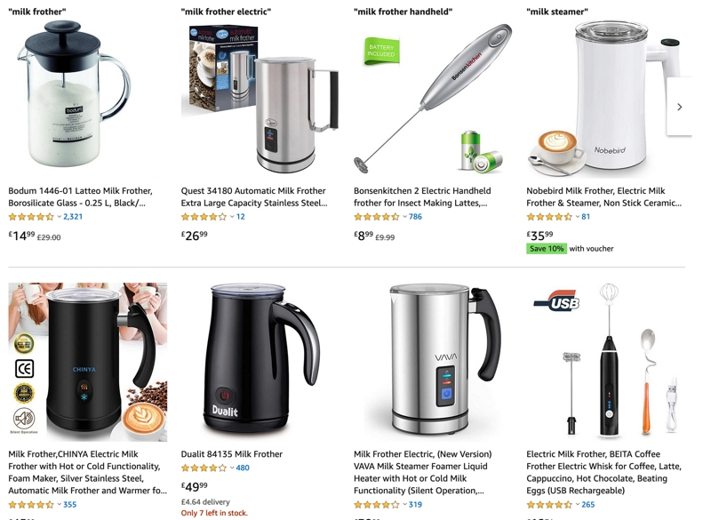 A screenshot of the most popular milk frothers on Amazon.
