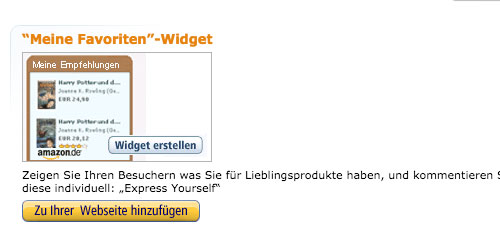 Amazon Werbemittel nutzen Mein Favoriten Widget