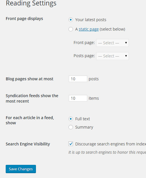 Basic wordpress set up reading settings