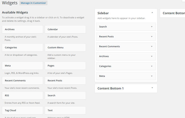 Basic wordpress set up sidebar