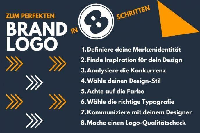 Infografik mit acht Schritten zur Erstellung eines Logos