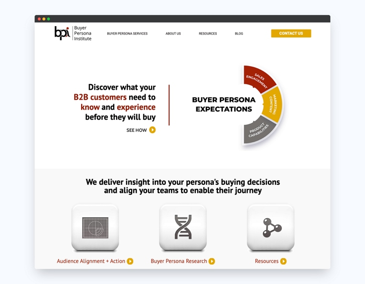 screenshot della homepage del Buyer Persona Institute