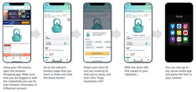 Darstellung mehrerer Smartphone-Screenshots die verdeutlichen, wie Du mit Mobile GetLink einen Partnerlink erstellen kannst