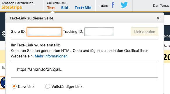 Screenshot zeigt, wie man einen Partnerlink mit Sitestripe erstellt.