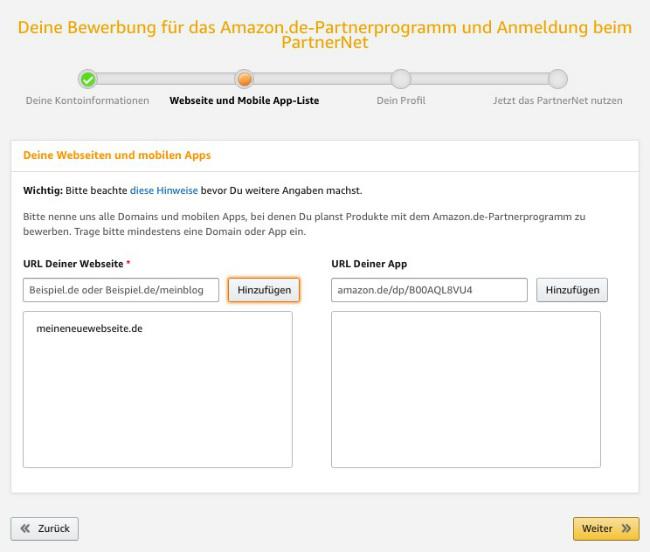 Screenshot zeigt, wie man seine Partnerwebseiten zu seinem Amazon Partnerkonto hinzufügt.