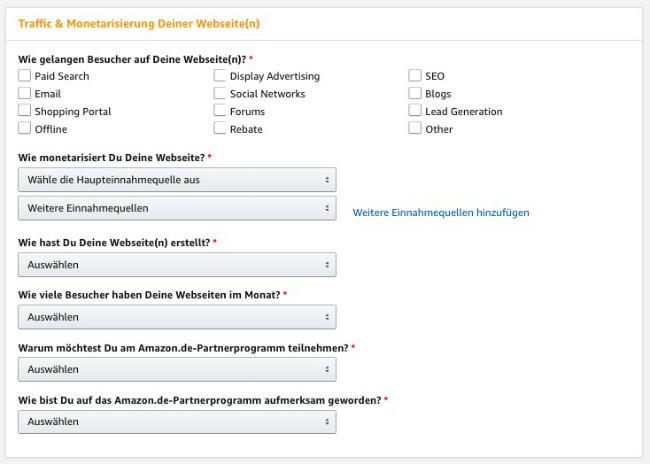 Screenshot zeigt, wie Du Deinem Amazon Partner-Konto Traffic & Monetization-Details hinzufügen kannst