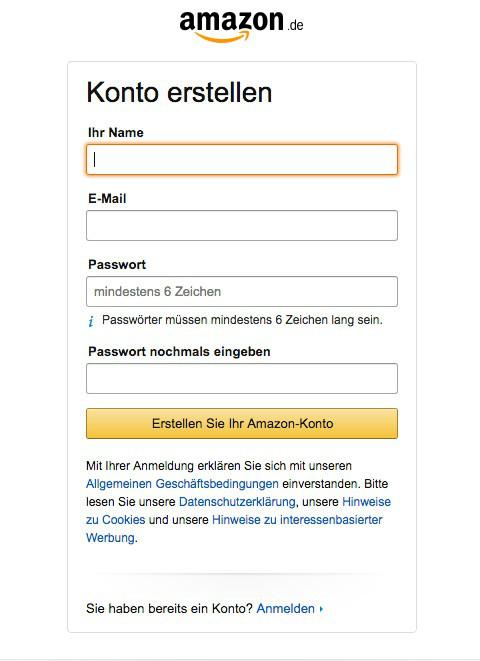 Screenshot zeigt wie man ein Amazon Konto erstellt