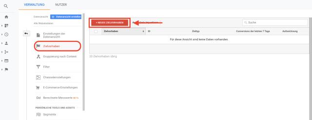 Übersichtstabelle zum Einrichten von Google-Analytics-Konversionszielen. Dieser Screenshot zeigt, wie du neue Konversionsziele in Google Analytics einrichten kannst.