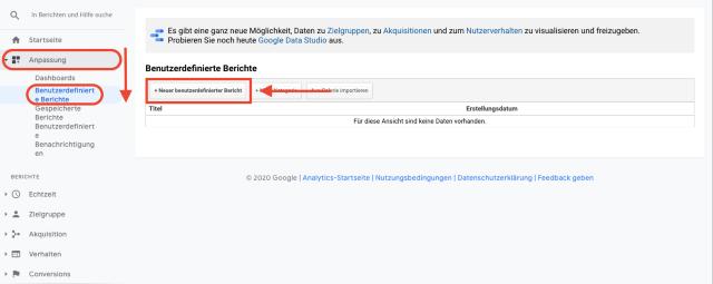 Diagramm für die Anpassung des Google-Analytics-Dashboards. Dieser Screenshot zeigt, wie du dein Google-Analytics-Dashboard einfach anpassen kannst.