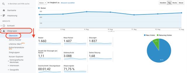 Google-Analytics-Übersichtsdiagramm für die Zielgruppe. Dieser Screenshot zeigt die Anzahl der neuen und wiederkehrenden Besucher.
