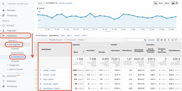 Übersichtsgrafik für die Erfassung der Traffic-Quellen durch Google Analytics. Dieser Screenshot zeigt, woher dein Traffic kommt.