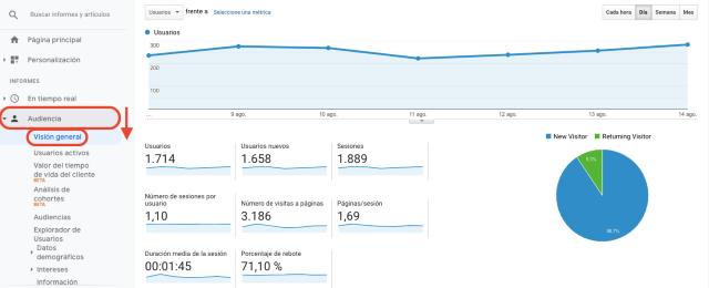 Tabla de resumen de audiencias en Google Analytics. Esta captura de pantalla muestra el número de visitantes nuevos y el de aquellos que vuelven.