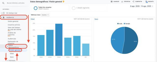 Tabla del resumen de los datos demográficos de tu audiencia en Google Analytics. Esta captura de pantalla muestra un gráfico de barras y otro de tarta para entender los datos demográficos de tu audiencia.