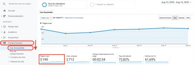 tag: Page de Google Analytics avec le rapport Pages vues. Cette capture d'écran montre comment les pages vues sont mesurées par Google Analytics
