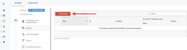 overzichtstabel Google Analytics-conversiedoelen instellen. Deze schermafbeelding laat zien hoe je conversiedoelen kunt instellen in Google Analytics.
