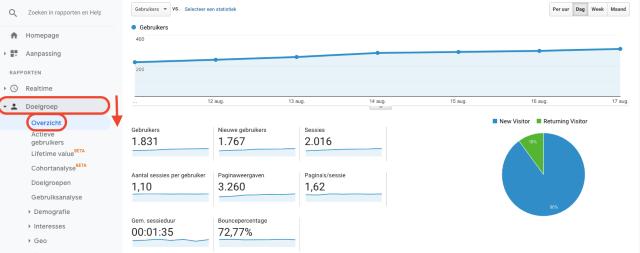 overzichtsdiagram voor doelgroepen van Google Analytics. Deze schermafbeelding toont het aantal nieuwe en terugkerende bezoekers.