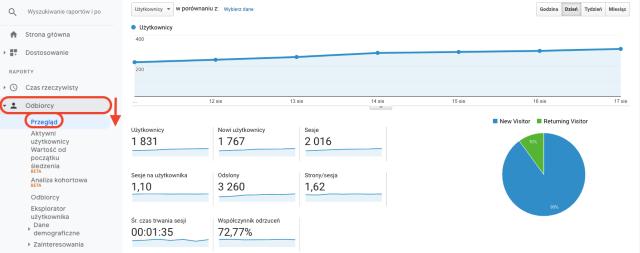 Wykres przeglądu odbiorców w Google Analytics. Ten zrzut ekranu pokazuje liczbę nowych i powracających gości.