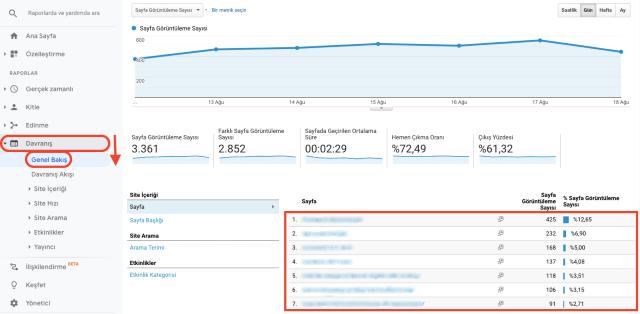 URL'ye göre Google Analytics sayfa görüntülemeleri genel bakış tablosu. Ekran görüntüsü, URL'ye göre sıralanmış sitelerin sayılarını gösterir.