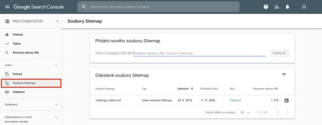 Snímek obrazovky s přehledem mapy webu (sitemap) na Google Search Console. Tato funkce pomáhá označit všechny stránky, které v souboru sitemap chybí.