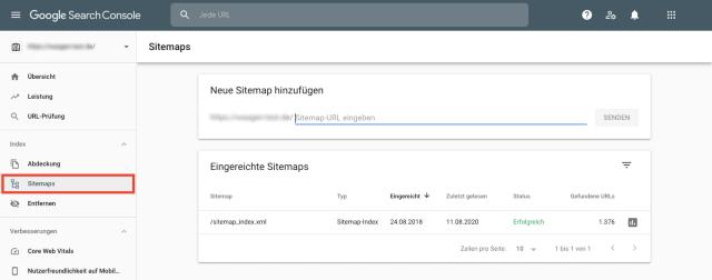 Screenshot der Sitemap-Übersicht der Google Search Console. Diese Funktion hilft, alle in der Sitemap fehlenden Seiten zu kennzeichnen.