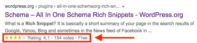 Google Suchergebnis mit rich snippet in Form von gelben Sternen. Der Screenshot zeigt wie ein entsprechendes Suchergebnis in der Google Suche dargestellt wird.