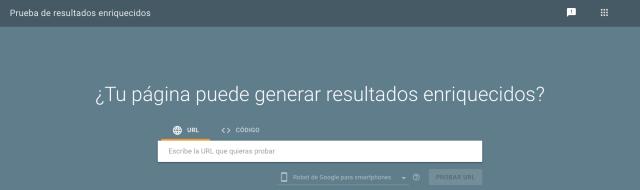 Captura de pantalla de la caja de búsqueda del test de resultados enriquecidos en Google Search Console. Te ayuda a averiguar si un sitio web o blog soporta resultados enriquecidos como reseñas o valoraciones.