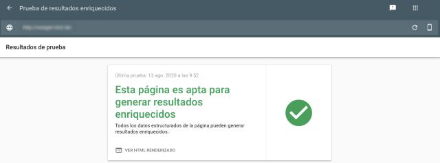 La captura de pantalla del test de resultados enriquecidos de Google Search Console muestra un resultado positivo. Esto significa que la página consultada puede mostrar resultados enriquecidos.