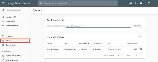 Captura de pantalla del resumen de sitemaps en Google Search Console. Esta funcionalidad te ayuda a detectar las páginas que faltan en el sitemap.