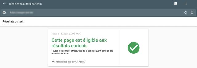 Capture d'écran du test de résultats riches de la Google Search Console, avec résultat positif. La page testée est éligible pour les résultats riches.