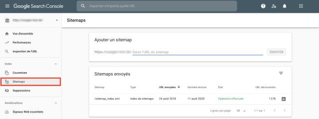 Capture d'écran de la vue d'ensemble de la sitemap dans la Google Search Console. Cette fonction contribue à signaler toute page manquante dans la sitemap.