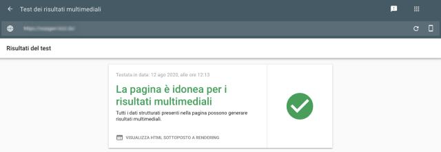 Schermata Rich Results Google Search Console con risultato test positivo. La pagina testata è idonea ai rich results.