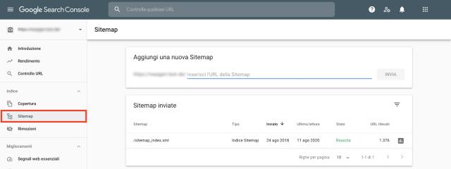 Schermata panoramica sitemap Google Search Console. Questa funzione consente di verificare l'assenza di pagine dalla sitemap.
