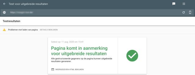 Google Search Console testscreenshot geeft positief testresultaat. De geteste pagina komt in aanmerking voor rich results.