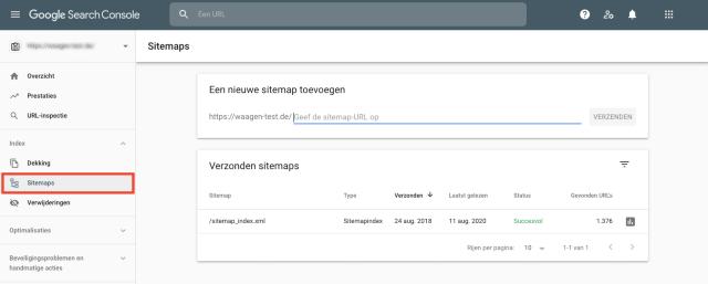 Screenshot van Google Search Console-sitemapoverzicht. Deze functie helpt bij het markeren van pagina's die ontbreken in de sitemap.
