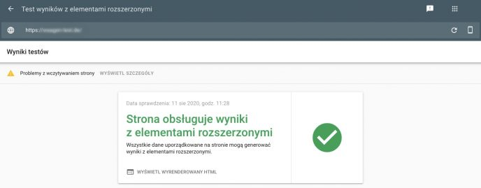 Zrzut ekranu przedstawiający test wyników z elementami rozszerzonymi w Google Search Console. Wynik testu jest pozytywny. Testowana strona może wyświetlać wyniki z elementami rozszerzonymi.