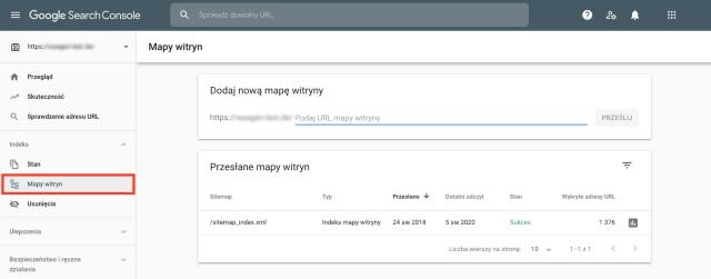Zrzut ekranu przedstawiający mapę witryny (sitemap) w Google Search Console. Ta funkcja pomaga zidentyfikować wszystkie strony, których brakuje w mapie witryny.
