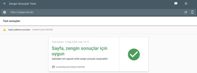 Google Arama Konsolu zengin sonuçlar testi ekran görüntüsü pozitif test sonucunu gösterir. Test edilen sayfa zengin sonuçlar almaya uygundur.]