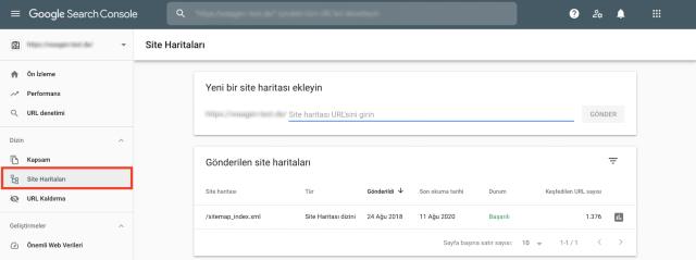 Google Arama Konsolu site haritası genel görünümü ekran görüntüsü. Bu özellik, site haritasında eksik olan sayfaların işaretlenmesine yardımcı olur.