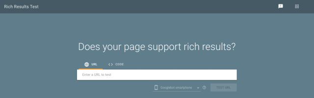 Google Search Console rich results test input box screenshot. Helps to identify if a website or blog supports rich results like reviews or ratings.