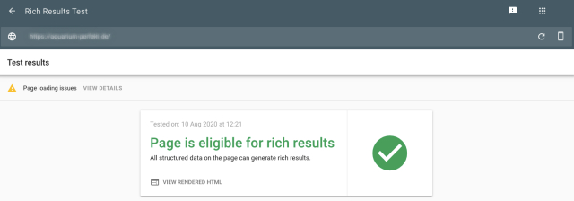 Google Search Console rich results test screenshot shows positive test result. The tested page is eligible for rich results.
