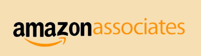 Logo de afiliados de Amazon sobre un fondo amarillo.
