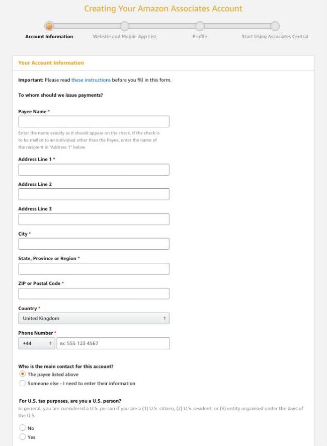 Bir Amazon Gelir Ortaklığı Hesabı oluştururken iletişim bilgilerinin nasıl girileceğini gösteren ekran görüntüsü.