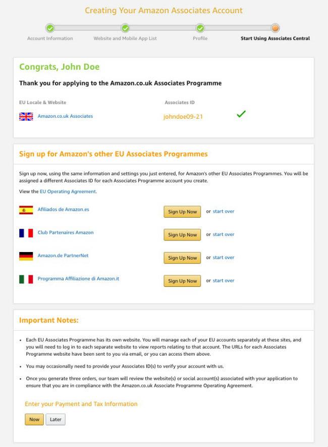 Amazon Gelir Ortaklığı için yapılmış başarılı bir başvurunun ekran görüntüsü.]