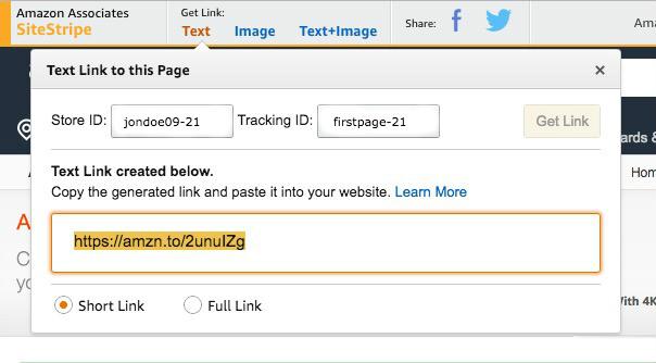 Captura de ecrã que demonstra como criar um link de Afiliados na ferramenta SiteStripe.
